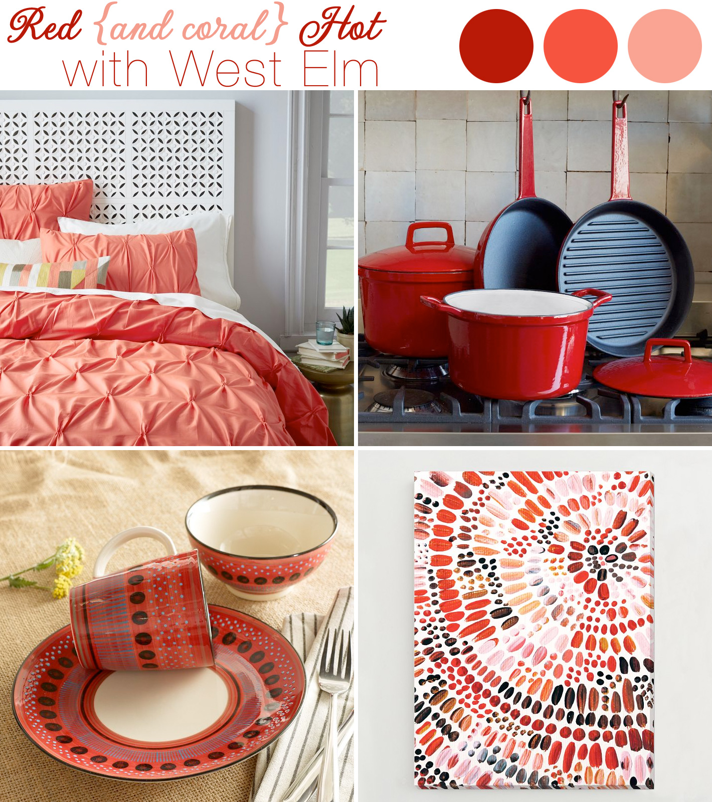 West Elm - creating your #newlywed home with their new #wedding + #gift #registry in red and coral colors