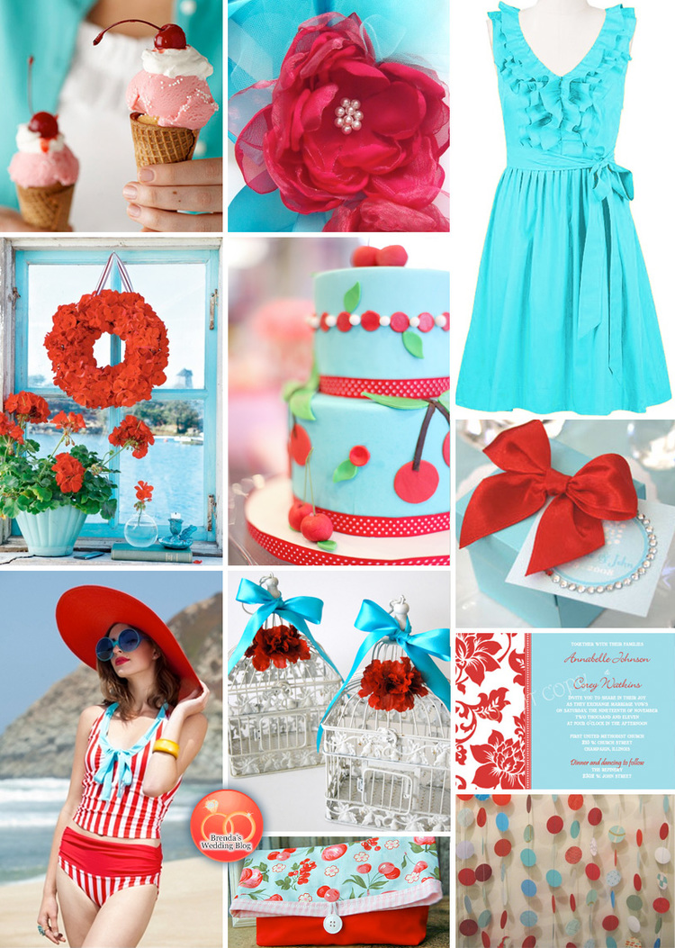A Festive 4th of July Wedding Inspiration Board in Aqua Blue and Red