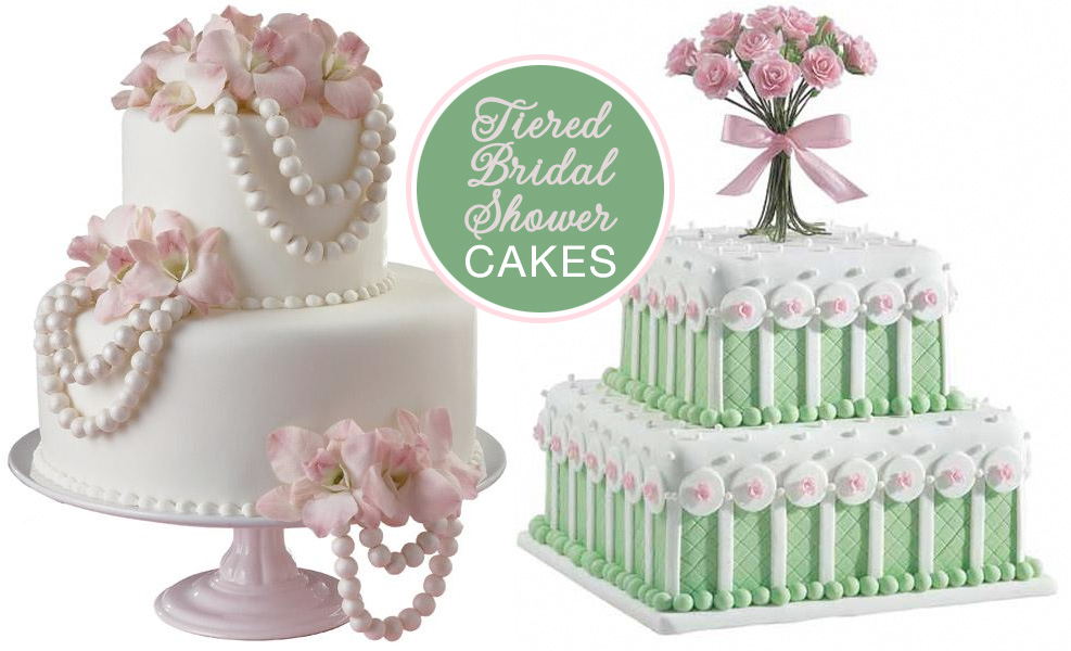 Tiered Bridal Shower Cakes with Fancy Pearls and Flowers