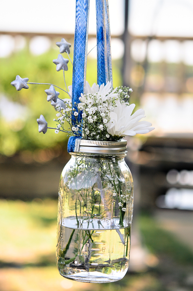 Mason Jar Flowers for a 4th of July Wedding | from Rebecca Watkins Photography