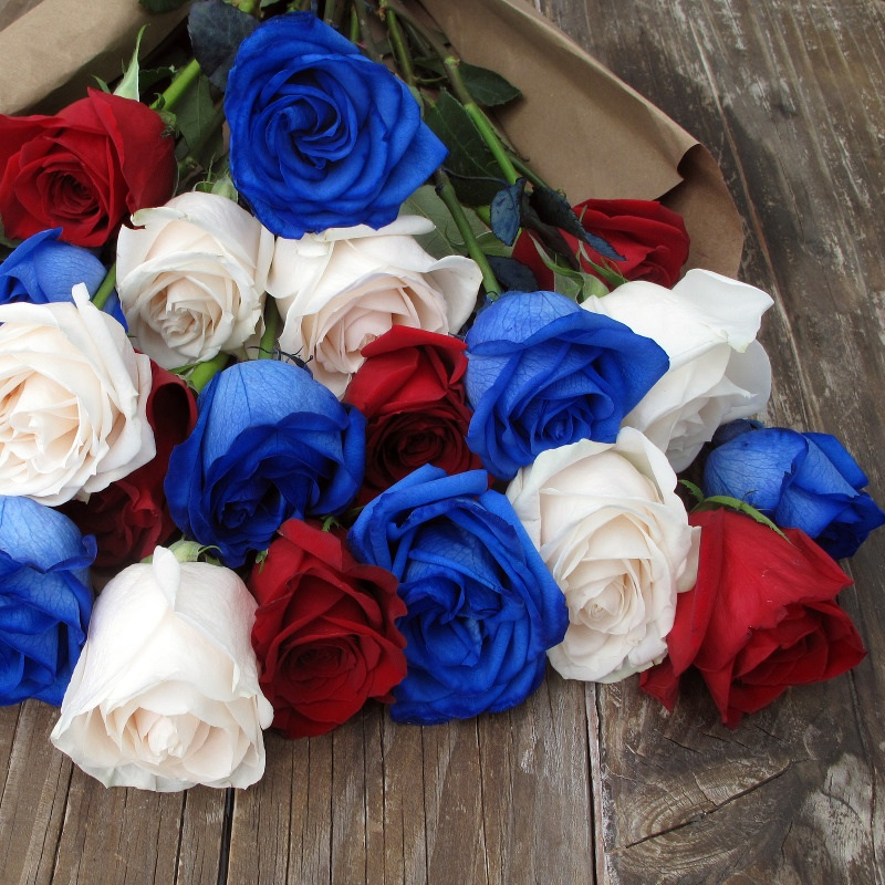 A Red, White and Blue Rose Wedding Bouquet