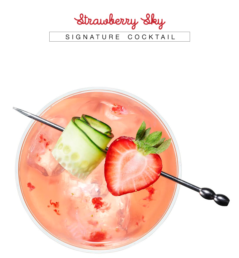 Strawberry Sky Cocktail with Recipe from VDKA 6100 - apink summer drink garnished with refeshing strawberry and cucumber