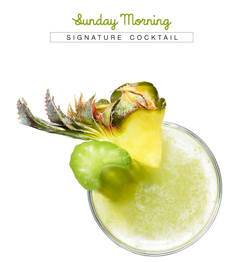 Sunday Morning Cocktail with Recipe from VDKA 6100 - adelicious brunch alternative to mimosas paired with celery, lime, pineapple and prosecco