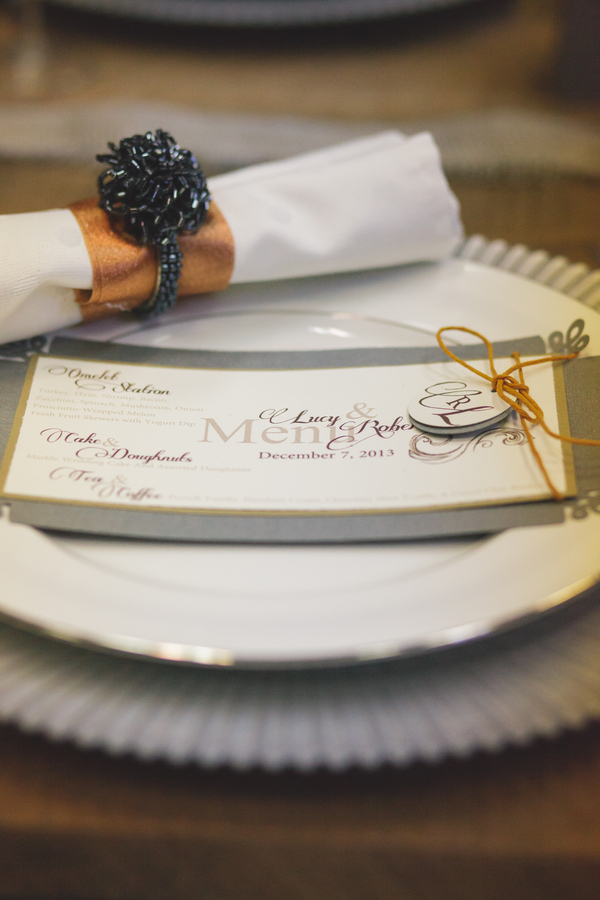 Menu with Beaded Napkin Ring Holder | as seen on BrendasWeddingBlog.com