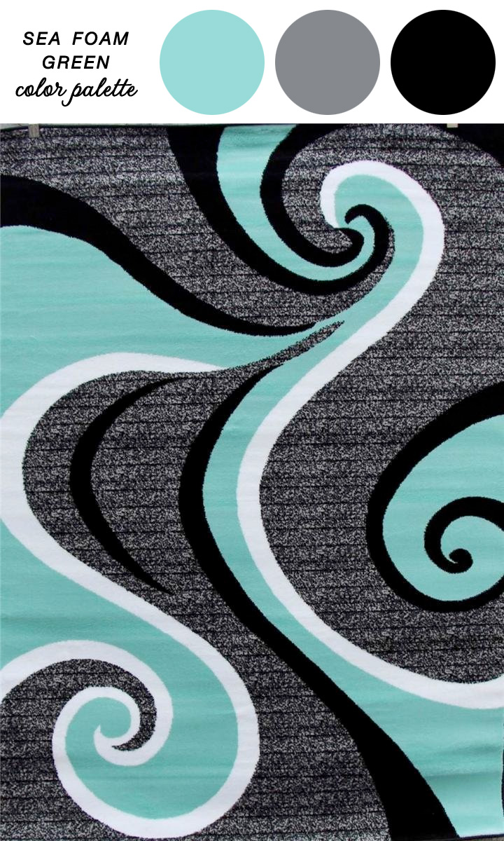 Abstract Carpet :  Sea Green, White, Gray, and Black Area Rug