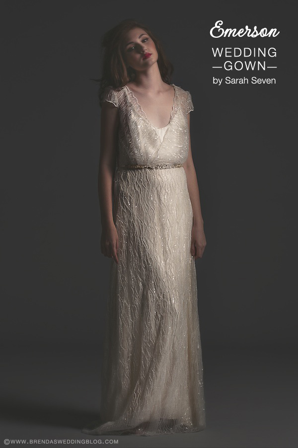 Sarah Seven Wedding Gown : style Emerson . . . deep scoop neck and cap sleeves {perfect for the pear shaped bride}