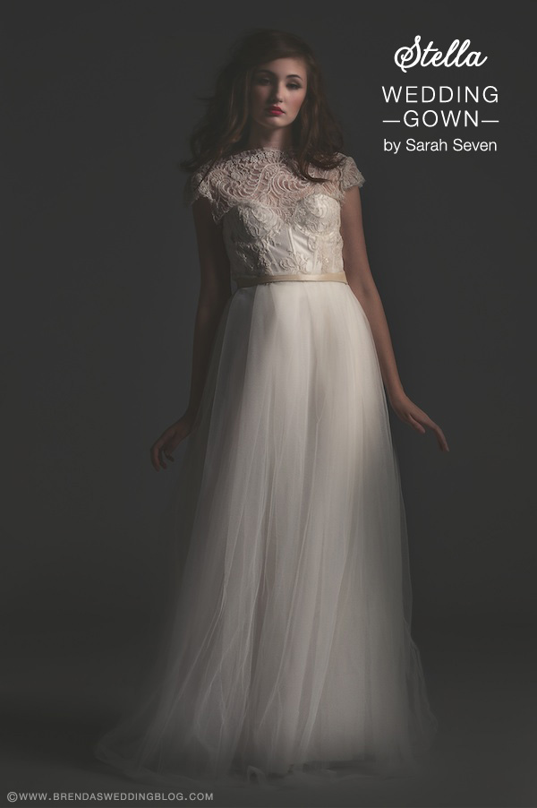 Sarah Seven Wedding Gown : style Stella . . . high-laced neckline {perfect for the pear shaped bride}