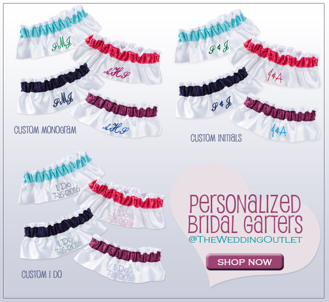 Personalized Bridal Garters from TheWeddingOutlet.com {Monogram, Initials, or I Do} | as seen on BrendasWeddingBlog.com
