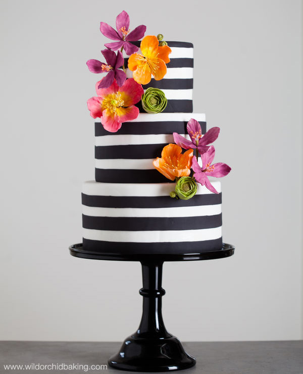 Black and White Striped Wedding Cake with Brightly Colored Sugar Flowers | from www.wildorchidbaking.com | seen on www.brendasweddingblog.com {found via cakecentral.com}