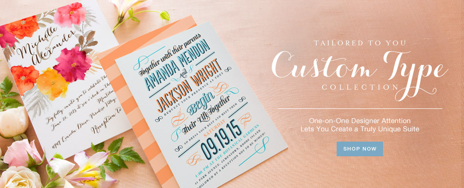 Custom Type Wedding Invitation Collection at Wedding Paper Divas lets you create a truly unique suite | as seen on BrendasWeddingBlog.com