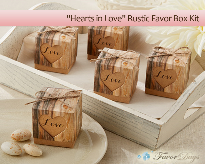 """Hearts in Love"" Rustic Wedding Favor Box Kit {comes in a set of 24 and matching, personalized stickers are available} 