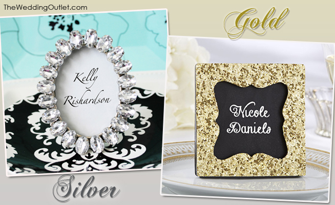 Silver Rhinestone and Gold Glittered Place Card Holders | from TheWeddingOutlet.com | as seen on BrendasWeddingBlog.com