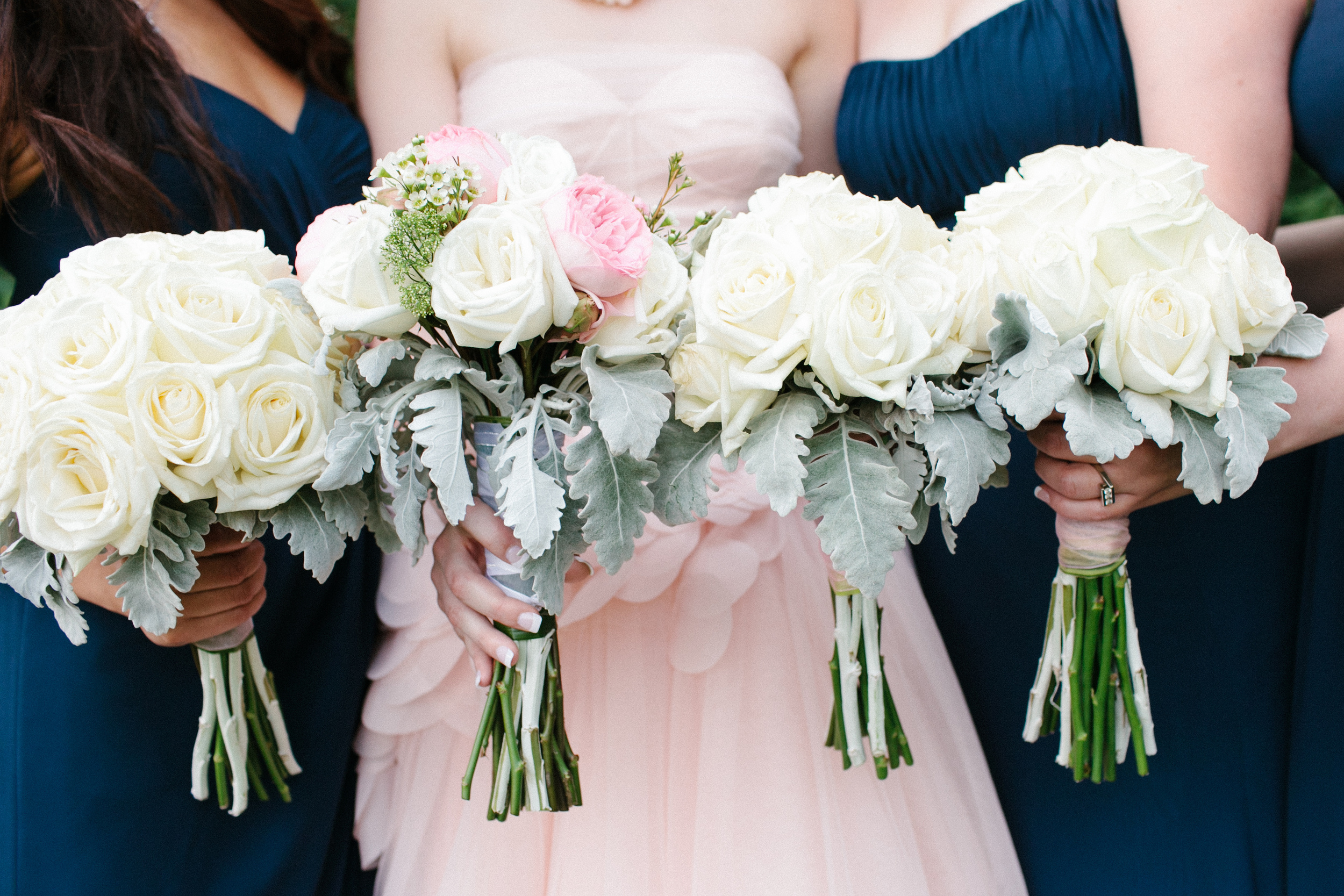 Pretty Bridesmaids and Bridal Bouquet | Pink and Navy Blue | photo by blf Studios | flowers by Norwood Florist | wedding by Madeline's Weddings