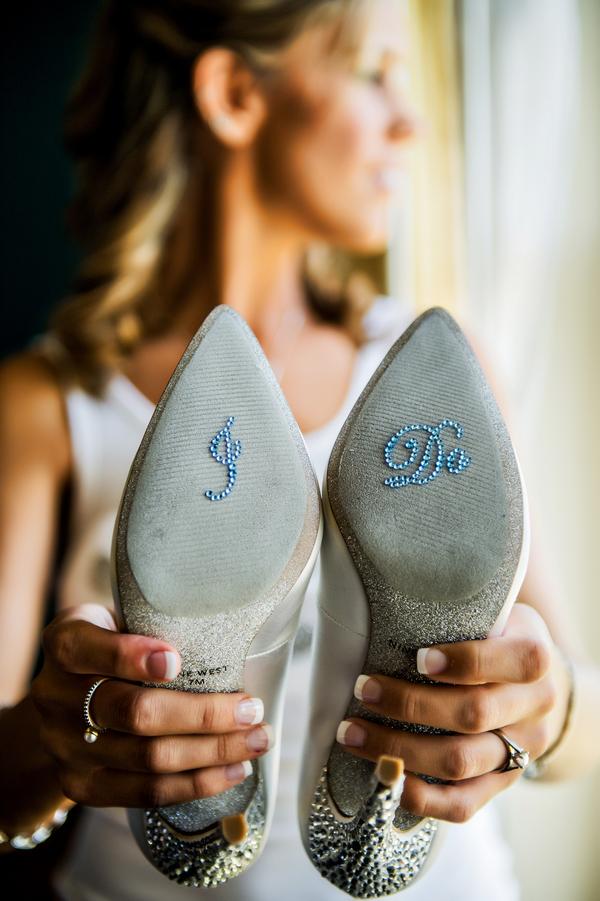 I Do Rhinestone Stickers on Nine West Wedding Shoes | photo by Ross Costanza Photography | via www.BrendasWeddingBlog.com