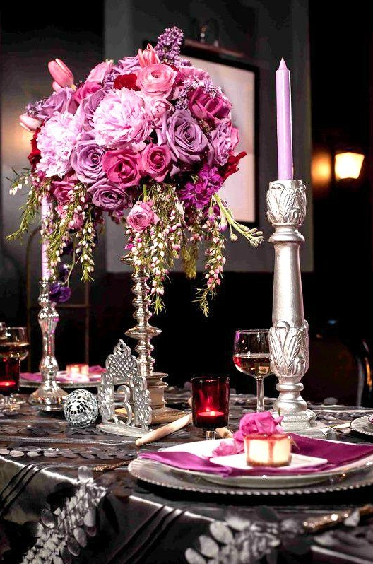 Spectacular Tall Pink and Purple Wedding Centerpiece by Maribel of Eight Tree Street Floral Design | Photo by Rachel Lowe Photography