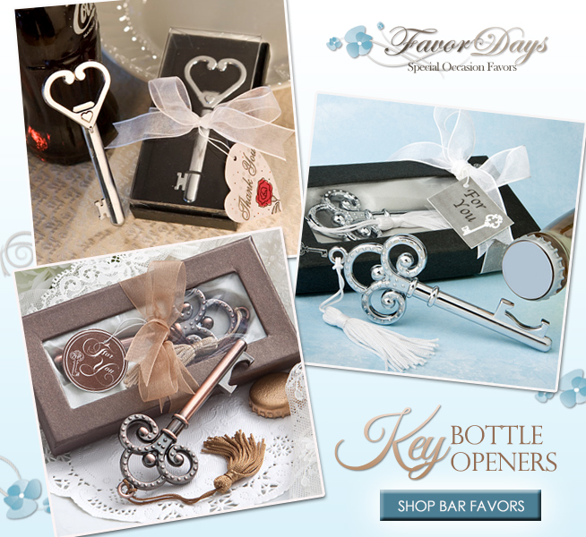 Bar Themed Wedding Favors : Key Bottle Openers from Favor Days | as seen on www.brendasweddingblog.com