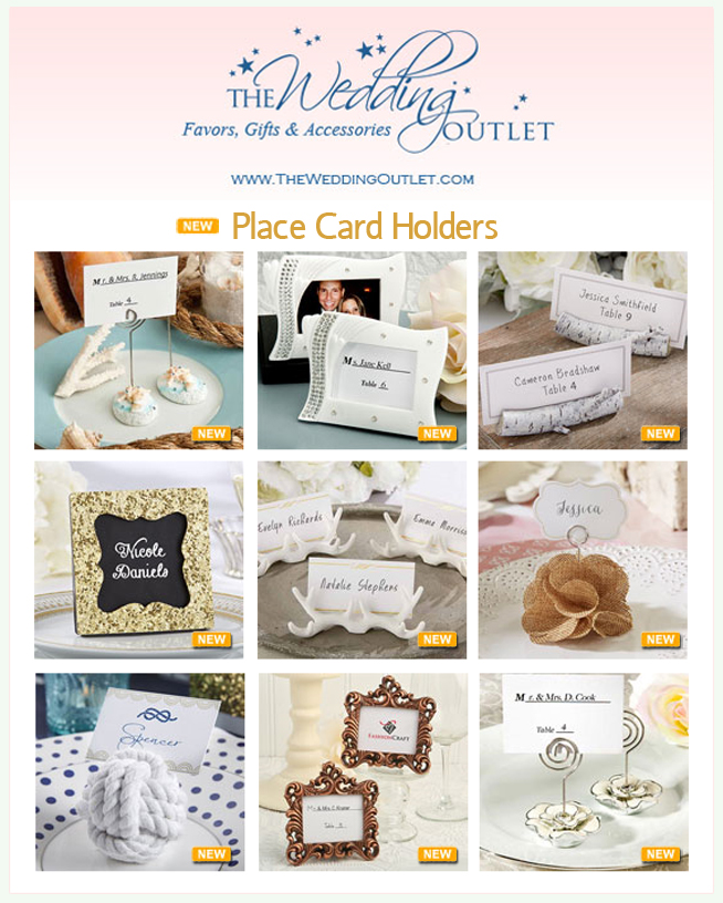 All New Wedding Place Card Holders from The Wedding Outlet | as seen on www.brendasweddingblog.com