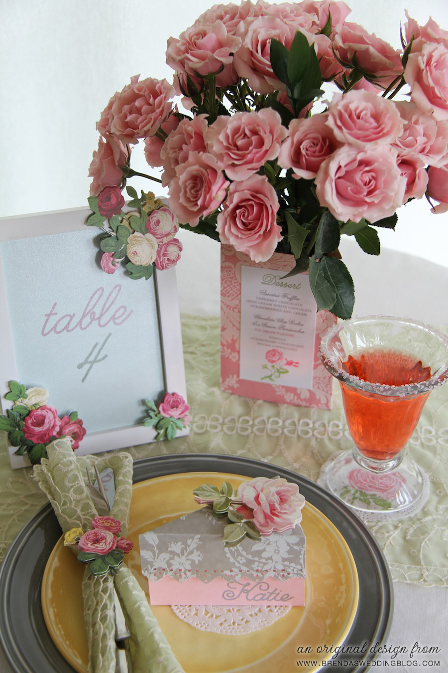 DIY Wedding Tablesetting with Place Card / Favor Box, Tri-fold Menu as Centerpiece Holder, Rubber Stamped Doily and Table Number Frame | via www.brendasweddingblog.com