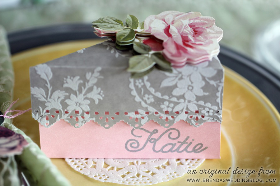 Wedding Cake Favor Box and Place Card Topped with an Anna Griffin Dimensional Rose Sticker | original design by www.brendasweddingblog.com