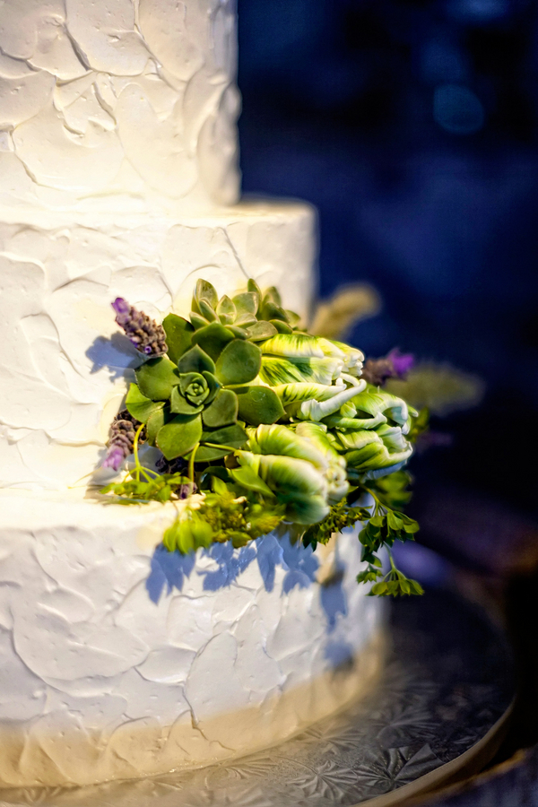 Simple and Pretty White Wedding Cake with Succulents in Detail | Photo by William Innes Photography | via www.brendasweddingblog.com