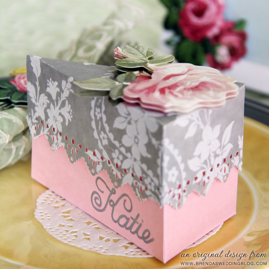 DIY Tutorial : Cake Favor Box and Place Card Design | an original creation by www.brendasweddingblog.com