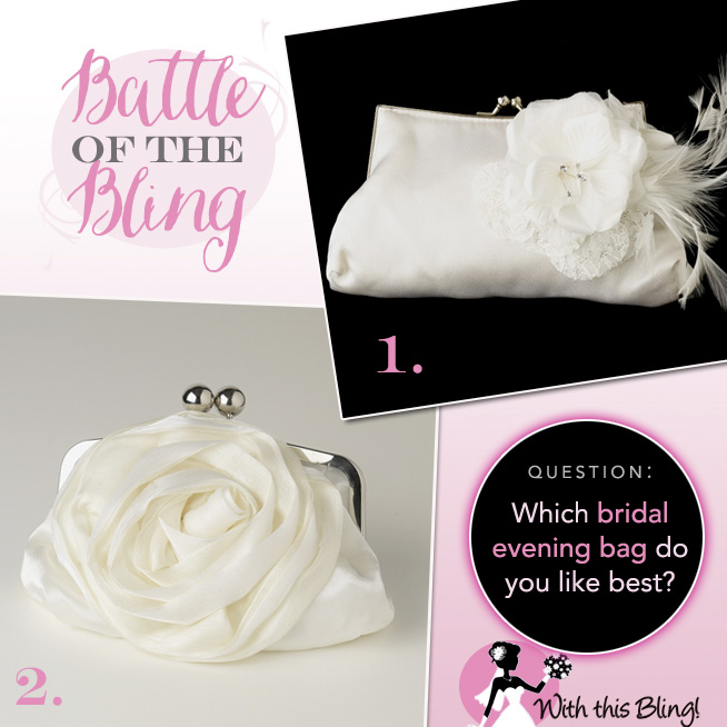 Which Bridal Evening Bag Do You Like Best from With This Bling? Come pick your favorite at www.brendasweddingblog.com and grab the coupon code to save  $10 off orders of $75 +