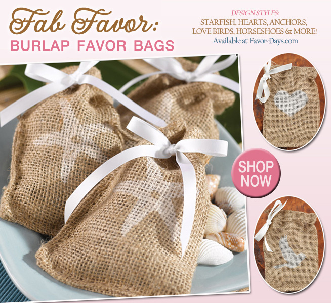 Fab Wedding Favors : Burlap Favor Bags in styles with starfish, hearts, anchors, lovebirds, horseshoes and more | as seen on www.brendasweddingblog.com