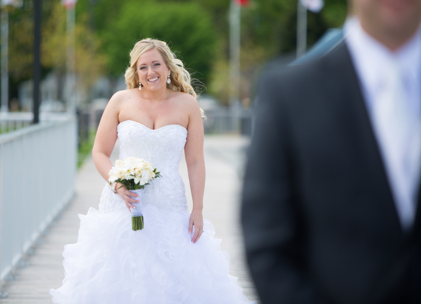 Happy Bride just before First Look | photo by Real Image Photography | as seen on www.brendasweddingblog.com