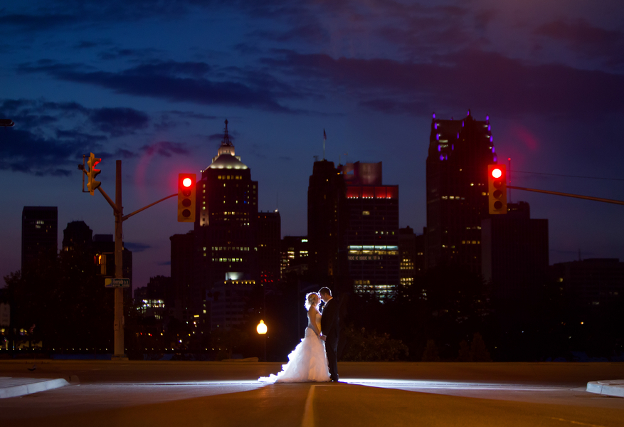 Stunning Nighttime Photo of the Bride and Groom | photo by Real Image Photography | as seen on www.brendasweddingblog.com