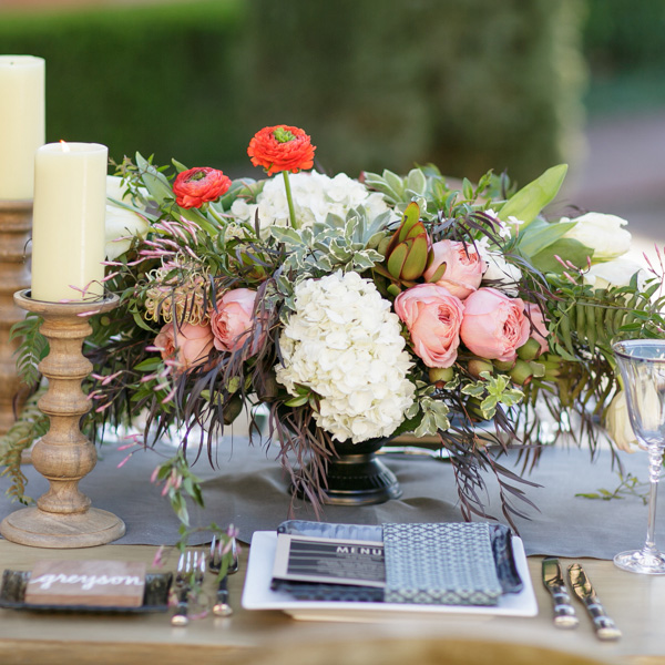 Farm to Table Chic Wedding Centerpiece by Nancy Liu Chin - with roses, zinnias, hydrangeas