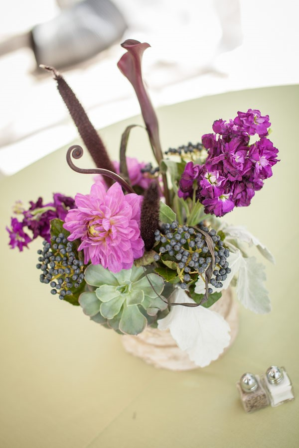 Rugged Mountain Wedding in Colorado / Purple Wedding Centerpiece / photo by Grace Combs Photography