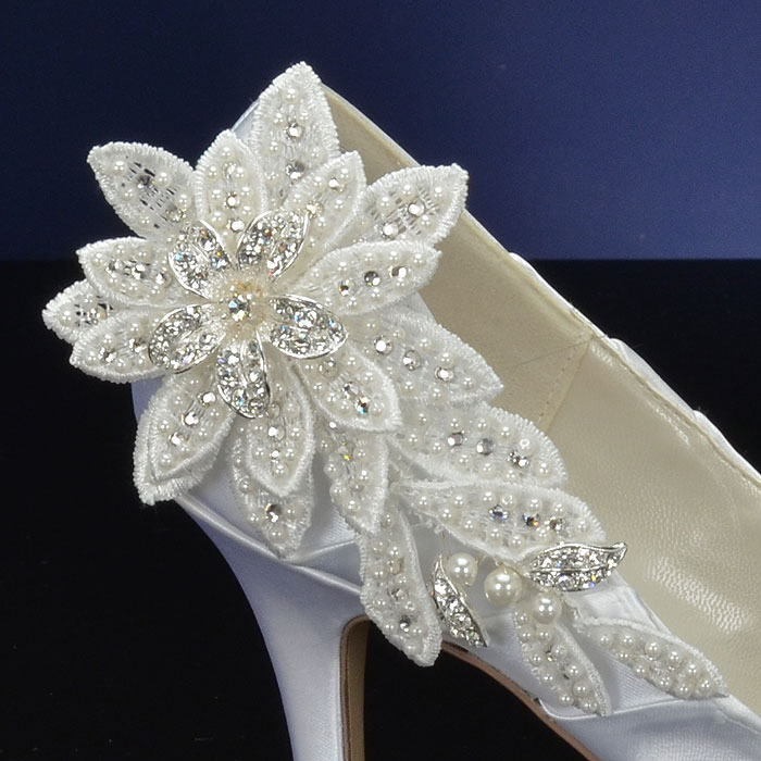 Decorated Bridal Shoes with Silver and Crystal Flowers and Pearls / as seen on www.BrendasWeddingBlog.com