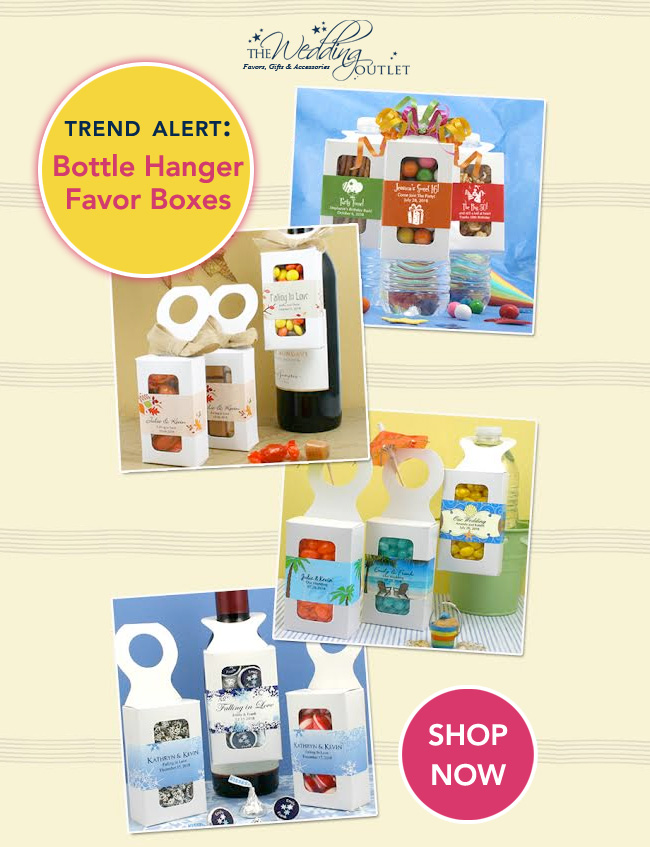 Hot Wedding Trend : Bottle Hanger Favor Boxes for Wine, Water, Soda or Beer Bottles / as seen on www.BrendasWeddingBlog.com