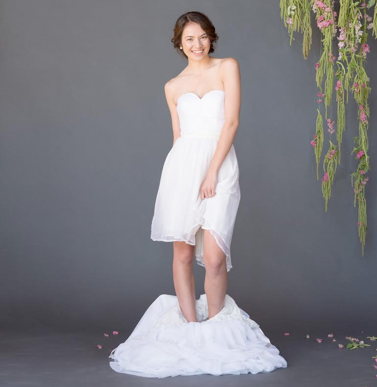 Help Name this Convertible Celia Grace Wedding Gown on www.BrendasWeddingBlog.com { Eco & Fair Trade Wedding Dresses}