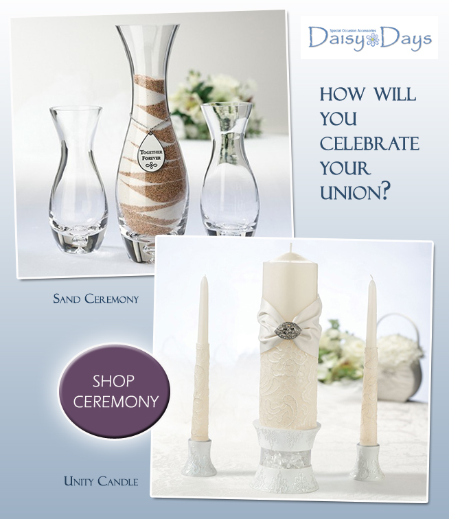 How Will You Celebrate your Wedding Union? With a Unity Candle or a Sand Ceremony? Come vote for your choice on www.BrendasWeddingBlog.com and see which one comes out ahead.