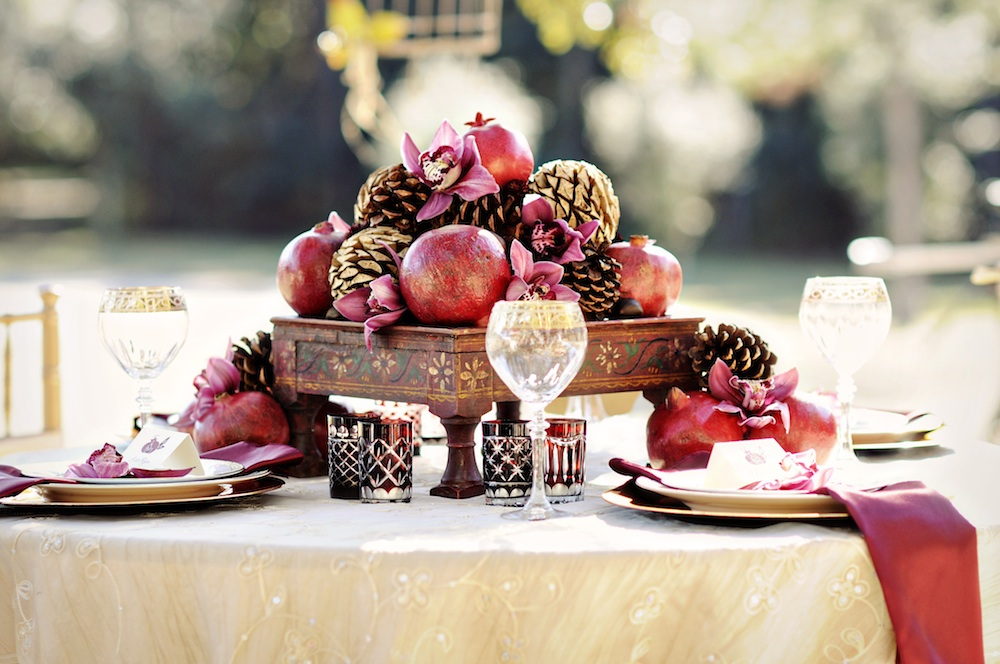 Winter Wedding Inspiration : Pomegranates and Pinecones / photo by Kismis Ink Photography / as seen on www.BrendasWeddingBlog.com
