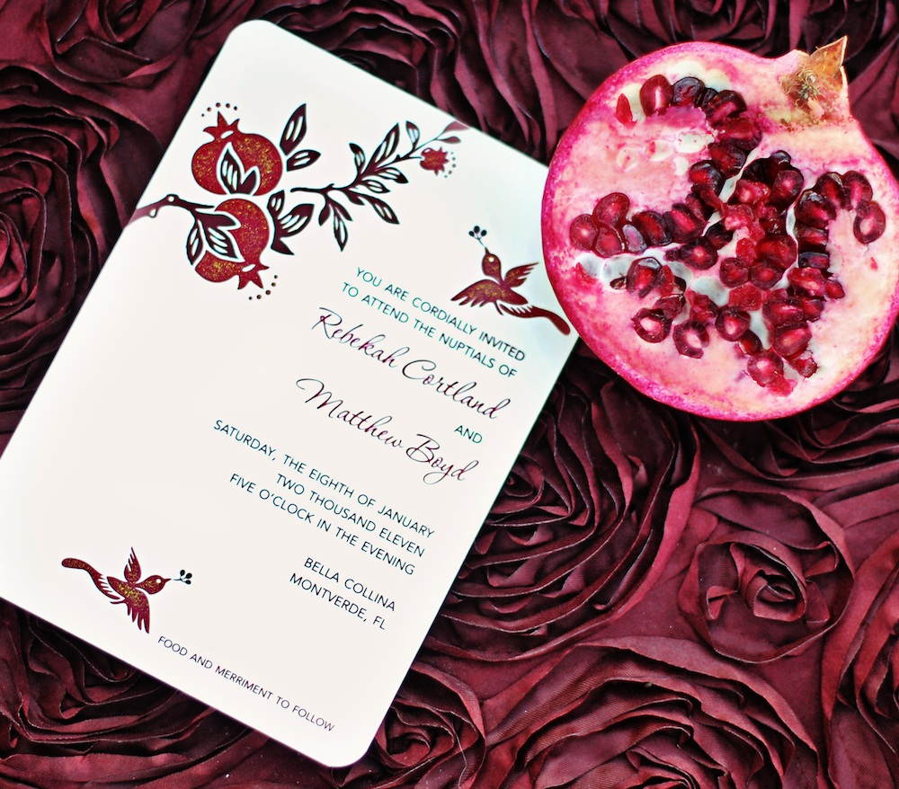 Pomegranate Wedding Invitation with Hand-Painted Glitter / from a Winter Wedding Inspired Photo Shoot / photo by Kismis Ink Photography / Design by Wedding Girl on Etsy / as seen on www.BrendasWeddingBlog.com