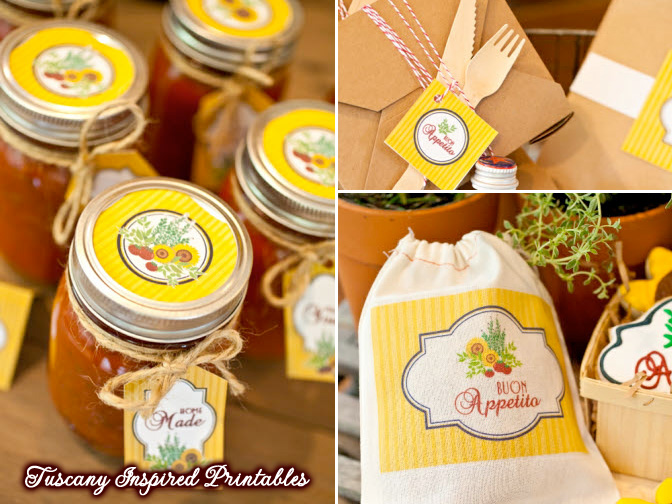 Tuscany Italian Wedding + Party Inspired Printables : see how to save 20% on your order at www.BrendasWeddingBlog.com