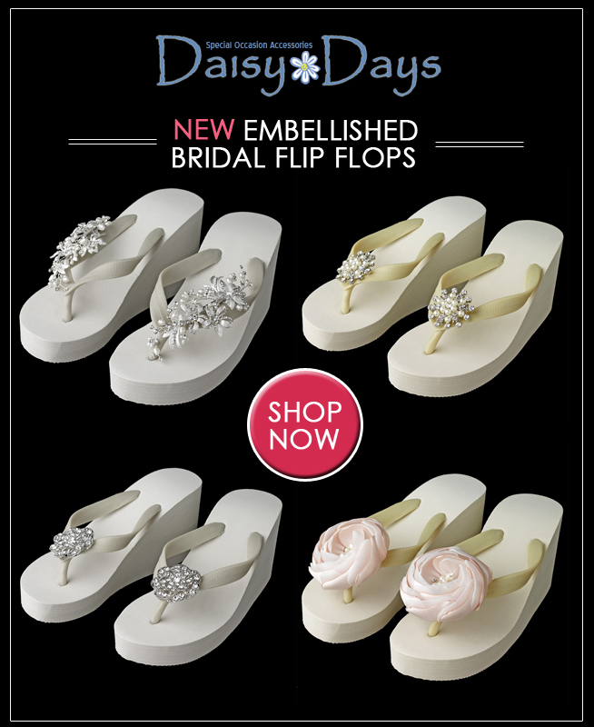 Embellished Bridal Flip Flops - perfect for beach weddings and/or dancing the night away in comfort / as seem on www.BrendasWeddingBlog.com