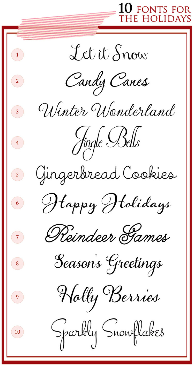 My Favorite Fonts {Typefaces} for Weddings and Parties during the Holiday and Winter Season / as seen on www.BrendasWeddingBlog.com