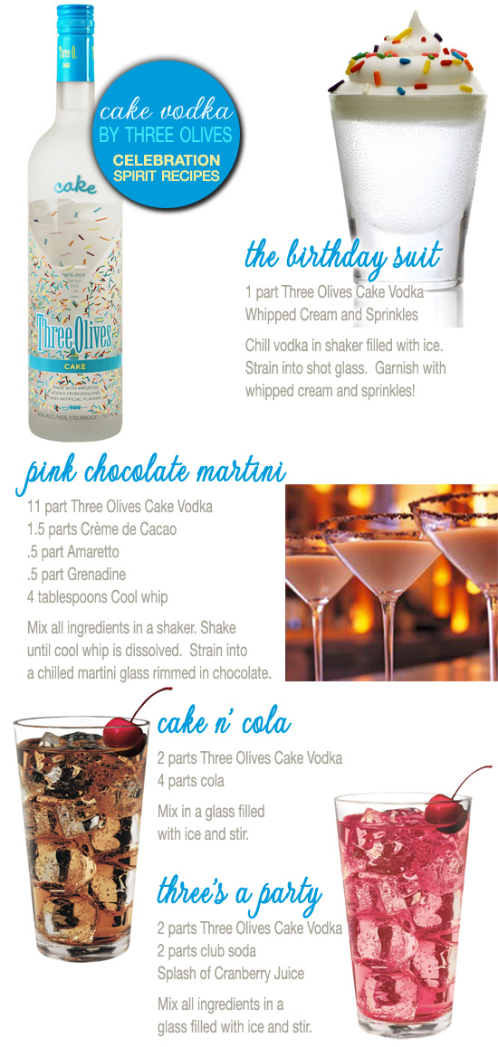 Celebratory Drink Recipes with Three Olives Cake Vodka including Pink Chocolate Martini / as seen on www.brendasweddingblog.com