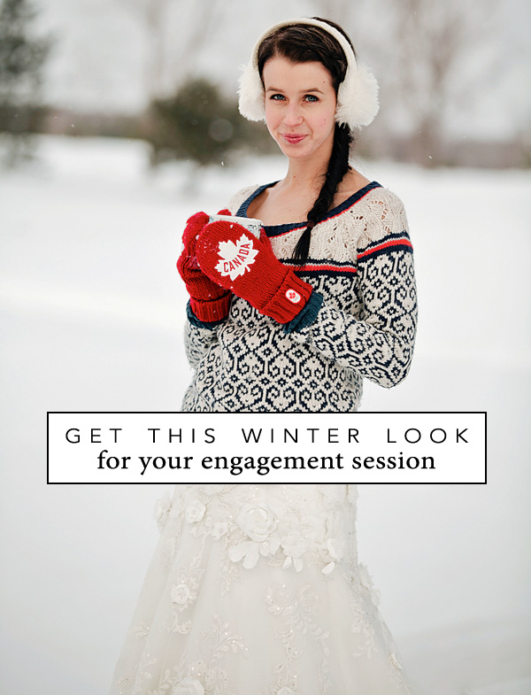 Re-create this fun winter look for your engagement session in the snow / as seen on www.brendasweddingblog.com