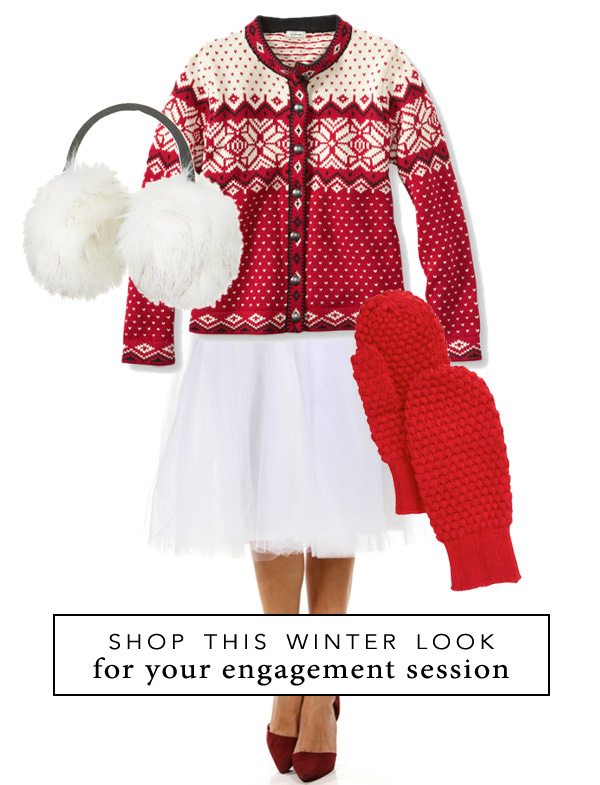 Shop this fun winter look for your engagement session in the snow {under $160} / as seen on www.brendasweddingblog.com