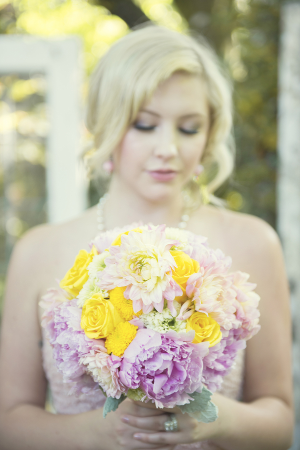 Pink and Yellow Wedding Bouquet from Tailored Blooms Floral Design / photo by L'Estelle Photography / as seen on www.BrendasWeddingBlog.com