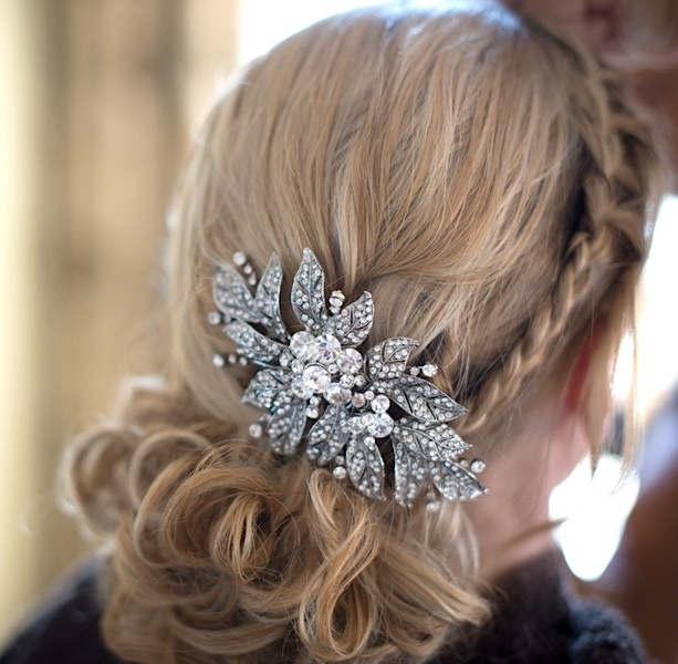 Pretty Bridal Hairstyle with a Braid and Rhinestone Clip | photo by Tracey Ann Photography / as seen on www.BrendasWeddingBlog.com