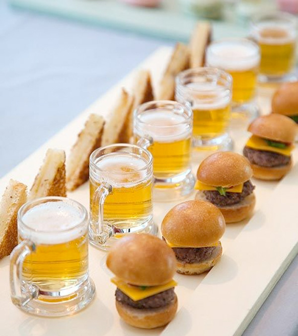 mini sliders, beer and grilled cheese for late night snacking at weddings  / from colin cowie weddings / as seen on www.brendasweddingblog.com