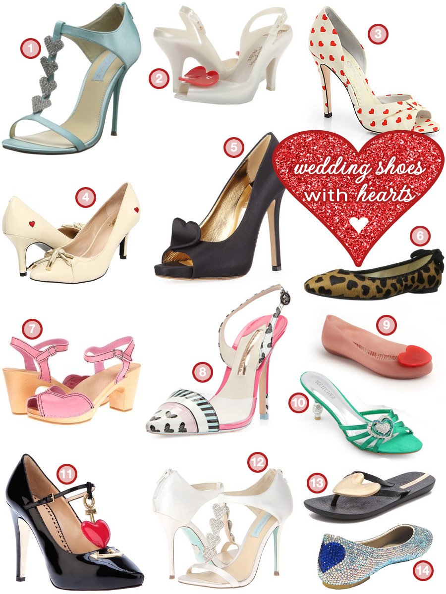 Wear Your Heart on Your Wedding Shoes with these Heart Themed Bridal Shoes - from high heels to flats to sandals / as seen on www.BrendasWeddingBlog.com