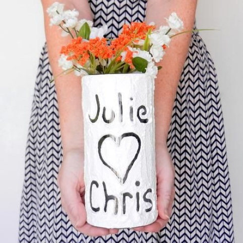 Tree Carved inspired flower vase with the couples names and a heart / a great newlywed gift / as seen on www.BrendasWeddingBlog.com