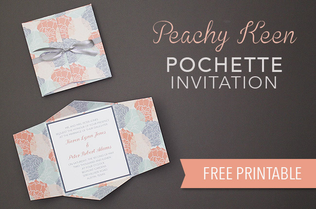 Download your free peachy keen pochette wedding invitation template from www.BrendasWeddingBlog.com