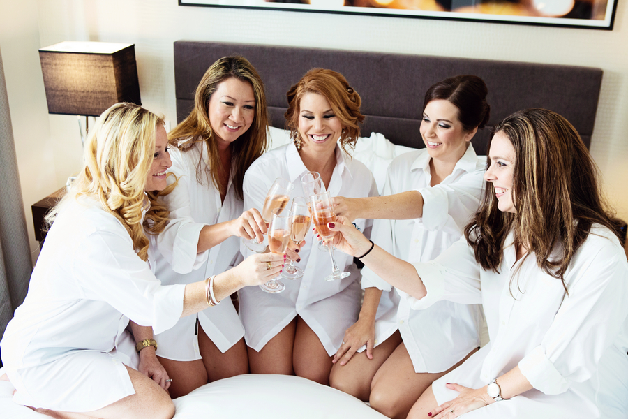Fun Bridesmaids Toast to the Bride / photo by Emily Gualdoni Photography / as seen on www.BrendasWeddingBlog.com